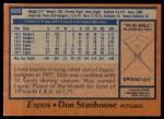 1978 Topps #629  Don Stanhouse  Back Thumbnail