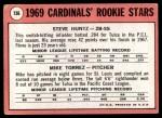 1969 Topps #136   -  Mike Torrez / Steve Huntz Cardinals Rookies Back Thumbnail