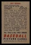 1951 Bowman #310  Erv Dusak  Back Thumbnail
