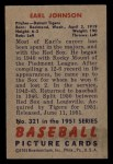 1951 Bowman #321  Earl Johnson  Back Thumbnail
