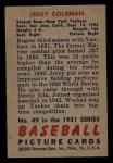 1951 Bowman #49  Jerry Coleman  Back Thumbnail