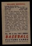 1951 Bowman #98  Willard Marshall  Back Thumbnail