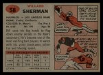 1957 Topps #58 BTH Bill Sherman   Back Thumbnail