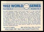 1970 Fleer World Series #49   -  Johnny Mize  / Duke Snider 1952 Yankees vs. Dodgers   Back Thumbnail