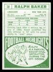 1968 Topps #38  Ralph Baker  Back Thumbnail