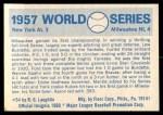 1970 Fleer World Series #54   -  Lew Burdette 1957 Braves vs. Yankees   Back Thumbnail