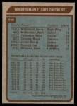 1979 Topps #258   Maple Leafs Team Checklist Back Thumbnail
