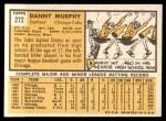 1963 Topps #272  Danny Murphy  Back Thumbnail
