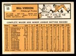 1963 Topps #55  Bill Virdon  Back Thumbnail