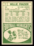 1968 Topps #11  Willie Frazier  Back Thumbnail