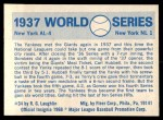 1970 Fleer World Series #34   -  Carl Hubbell 1937 Yankees vs. Giants   Back Thumbnail