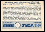1970 Fleer World Series #15   1918 Red Sox vs. Cubs Back Thumbnail