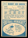 1968 Topps #214  Bobby Joe Green  Back Thumbnail