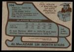 1979 Topps #104  Al MacAdam  Back Thumbnail