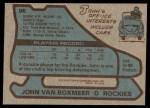 1979 Topps #96  John Van Boxmeer  Back Thumbnail