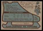 1979 Topps #21  Blair Chapman  Back Thumbnail