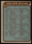 1979 Topps #261   New NHL Entries - Edmonton Oilers / Hartford Whalers / Quebec Nordiques / Winnipeg Jets Back Thumbnail