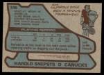 1979 Topps #186  Harold Snepsts  Back Thumbnail