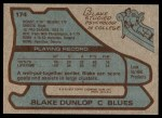 1979 Topps #174  Blake Dunlop  Back Thumbnail