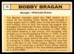 1963 Topps #73  Bobby Bragan  Back Thumbnail