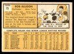 1963 Topps #75  Bob Allison  Back Thumbnail
