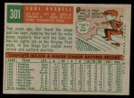 1959 Topps #301  Earl Averill Jr.  Back Thumbnail