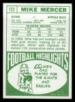 1968 Topps #123  Mike Mercer  Back Thumbnail