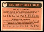 1966 Topps #373   -  Jack Hiatt / Dick Estelle Giants Rookies Back Thumbnail
