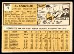 1963 Topps #77  Al Spangler  Back Thumbnail