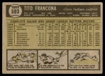 1961 Topps #503  Tito Francona  Back Thumbnail