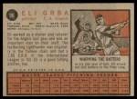 1962 Topps #96  Eli Grba  Back Thumbnail