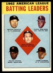 1963 Topps #2   -  Mickey Mantle / Chuck Hinton / Floyd Robinson / Pete Runnels / Norm Siebern AL Batting Leaders Front Thumbnail