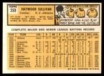 1963 Topps #359  Haywood Sullivan  Back Thumbnail