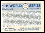 1970 Fleer World Series #8   -  John McGraw 1911 A's vs. Giants   Back Thumbnail