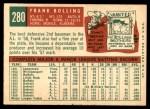 1959 Topps #280  Frank Bolling  Back Thumbnail