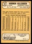1968 Topps #220  Harmon Killebrew  Back Thumbnail