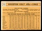 1963 Topps #312   Colt .45s Team Back Thumbnail