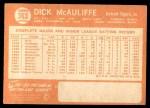 1964 Topps #363  Dick McAuliffe  Back Thumbnail