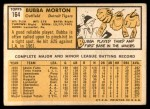1963 Topps #164  Bubba Morton  Back Thumbnail