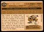 1960 Topps #278  Stan Williams  Back Thumbnail