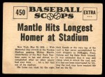 1961 Nu-Card Scoops #450   -   Mickey Mantle Mantle Hits Longest Homer At Stadium Back Thumbnail