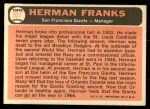 1966 Topps #537  Herman Franks  Back Thumbnail