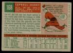 1959 Topps #168  Carroll Hardy  Back Thumbnail