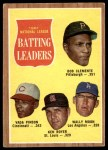 1962 Topps #52   -  Roberto Clemente / Vada Pinson / Ken Boyer / Wally Moon NL Batting Leaders Front Thumbnail