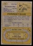 1974 Topps #124 AP  -  Forrest Blue All-Pro Back Thumbnail