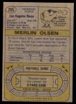 1974 Topps #205  Merlin Olsen  Back Thumbnail