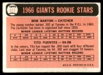 1966 Topps #511   -  Tito Fuentes / Bob Barton Giants Rookies Back Thumbnail