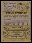 1974 Topps #215  Steve Spurrier  Back Thumbnail