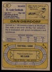 1974 Topps #32 ONE Dan Dierdorf  Back Thumbnail