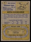 1974 Topps #21 ONE Ben Hawkins  Back Thumbnail